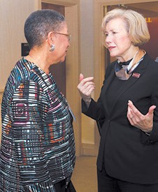 Mrs. Shirley B. James chats with Armstrong PresidenLinda Bleicken at Awards Dinner