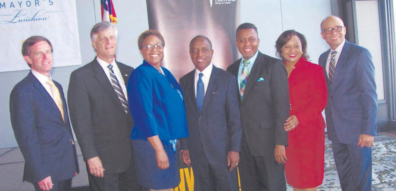 L-R: President Sam McCachern, Mayor Eddie DeLoach, Karen Bogans, Michael Thurmond, Pastor George P. Lee, Dawn Baker, and Maurice Jenkins