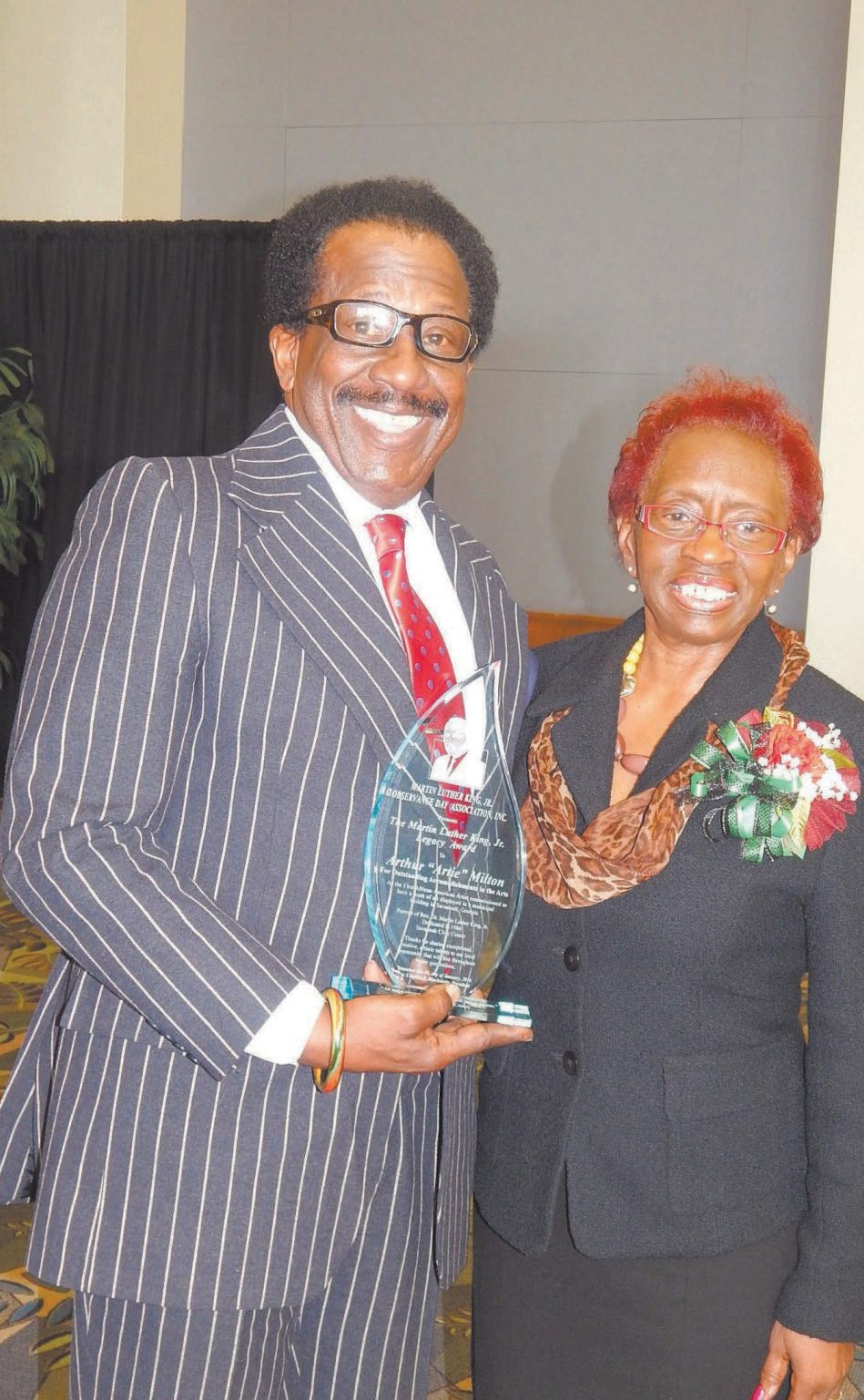 Milton received the MLK Legacy Award in January 2016 at the MLK Observance Day Unity Brunch
