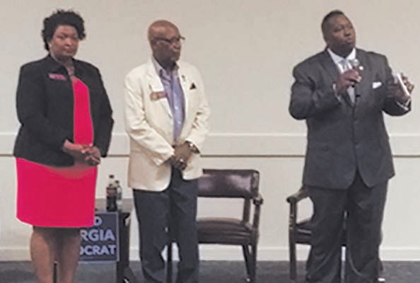 L-R: House Minority Leader Stacey Abrams, along with Representatives Mickey Stephens and Carl Gilliard at Savannah State University