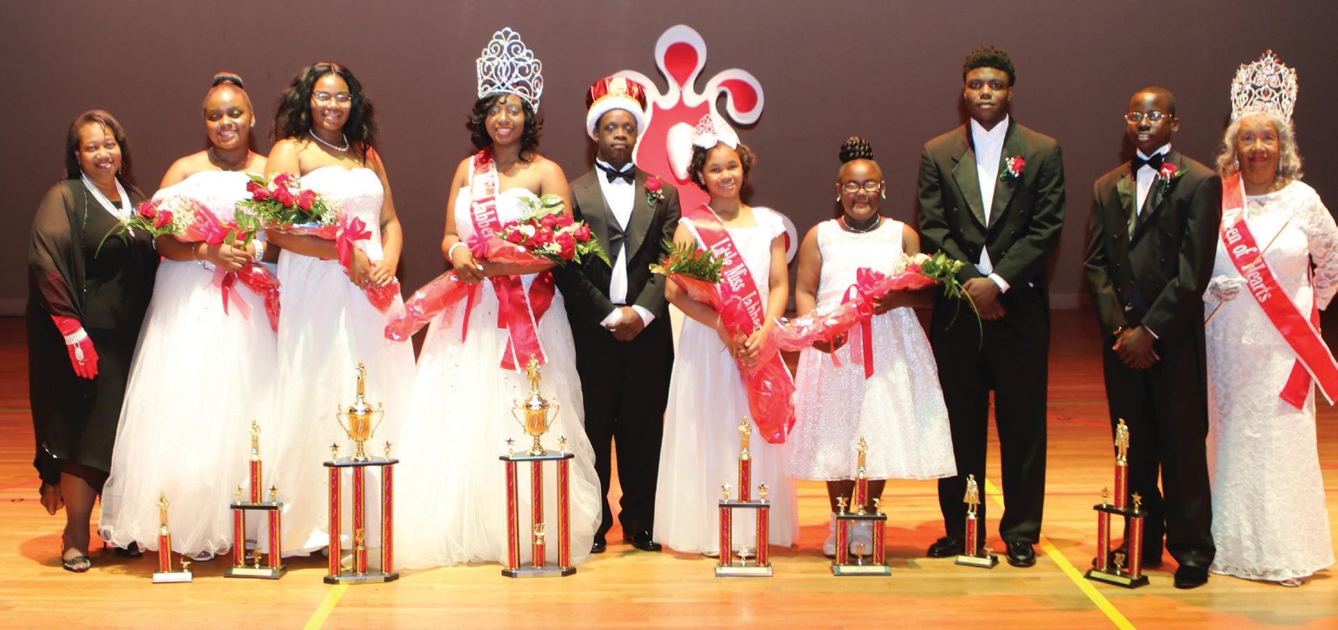 L-R: Laura N. Wiggins, Savannah Alumnae Chapter President; Kennedy Ingram, 2nd Runner Up, Little Miss Jabberwock; Petra Albright, 1st Runner Up, Miss Jabberwock; Cierra Warren, Miss Jabberwock; Clorenzo Griffin, Jr. Mr. Jabberwock; Katlin Brown, Little Miss Jabberwock; Kia Mustopher, 1st Runner Up, Little Miss Jabberwock; Benjamin Smith, 2nd Runner Up, Mr. Jabberwock; Kyem Robbins, 1st Runner Up, Mr. Jabberwock; Margurite Birt, Queen of Hearts