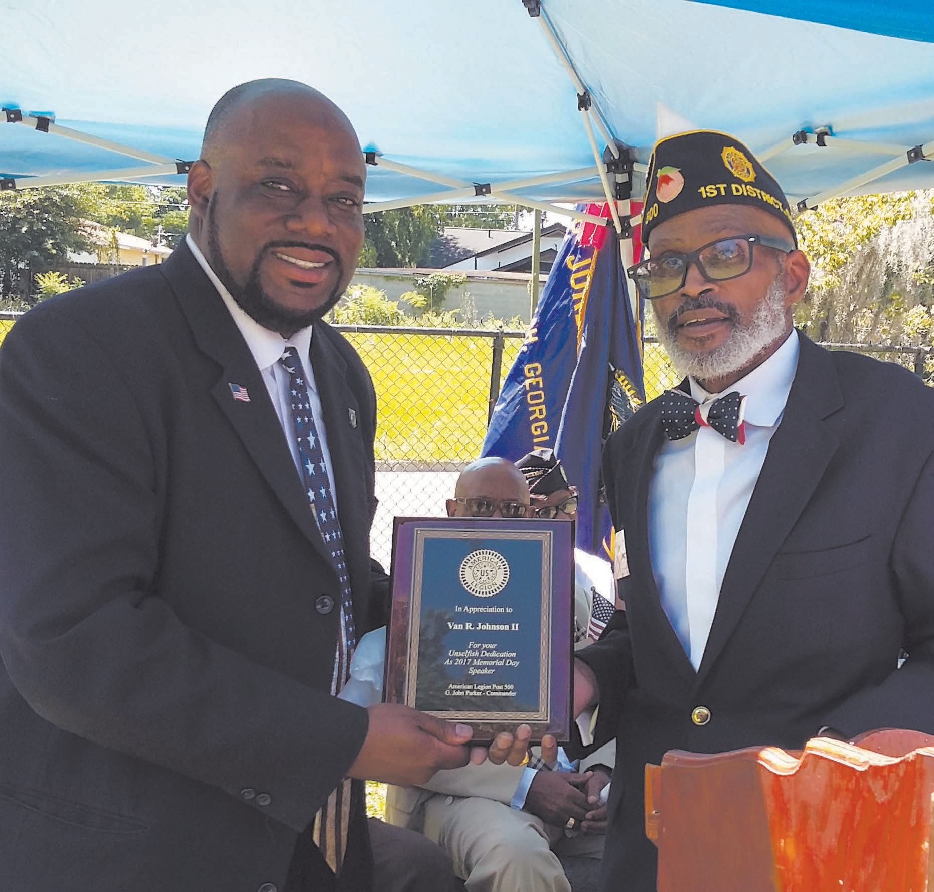 Post 500 Chaplain James Putney presented Alderman Johnson with a plaque recognizing him for his community service.