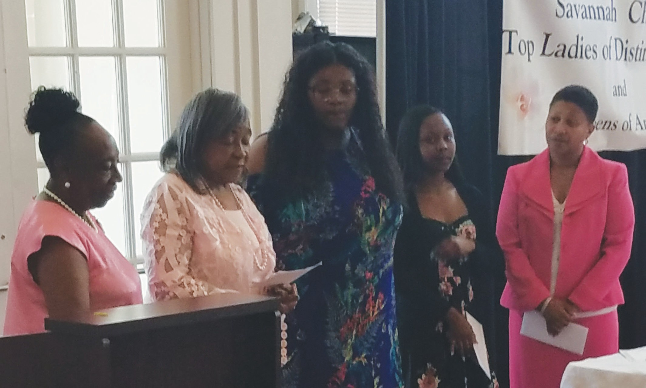 Lady Annette Mitchell. President, Lady Jacquelyn Stephens, Organizer, C'Asia De'Nay Griffin, Miah Yasima Monae Jones Lady Nantal Henry, Scholarship Committee Co Chair