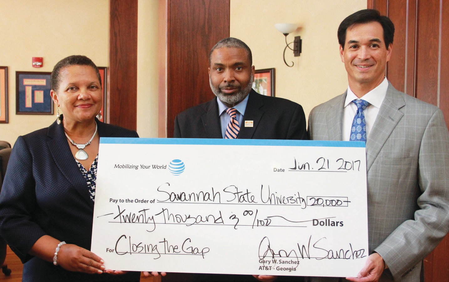 L-R: Cheryl D. Dozier, President of Savannah State University; Phillip D. Adams, Vice President for University Advancement and Executive Director of the SSU Foundation Inc.; and Gary Sanchez, Regional Director of External Affairs AT&T Georgia.