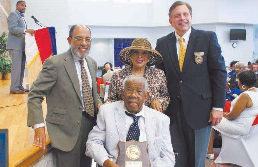 L-R: Dr. Lester B. Johnson, Jr.,Ph.D., along with his wife, Constance and son, Lester B. Johnson, III, and Dr. Peter Mastopoulos