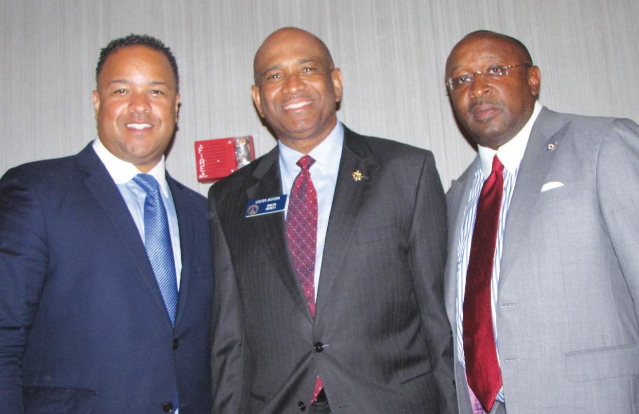 Keynote speaker, Cassius Butts, Sen. Lester Jackson, ILA Local 1414 President Timothy Mackey