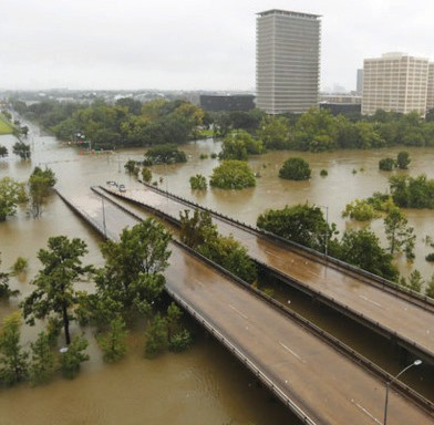 Flooding in Bayou Buffalo in Houston