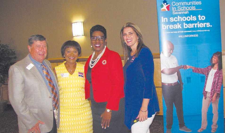 Board of Directors Chairman, Joe Buck; Kim Gusby 2017-2018 All In For Kids Spokeswoman, School Superintendent Dr. Ann Levett and Executive Director Catalina Garcia-Quick