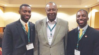 Pictured: Carver State Bank President, Robert E. James with Engage Millennials Co-Founders (Marcus Howard-left and Charles Hands-right)