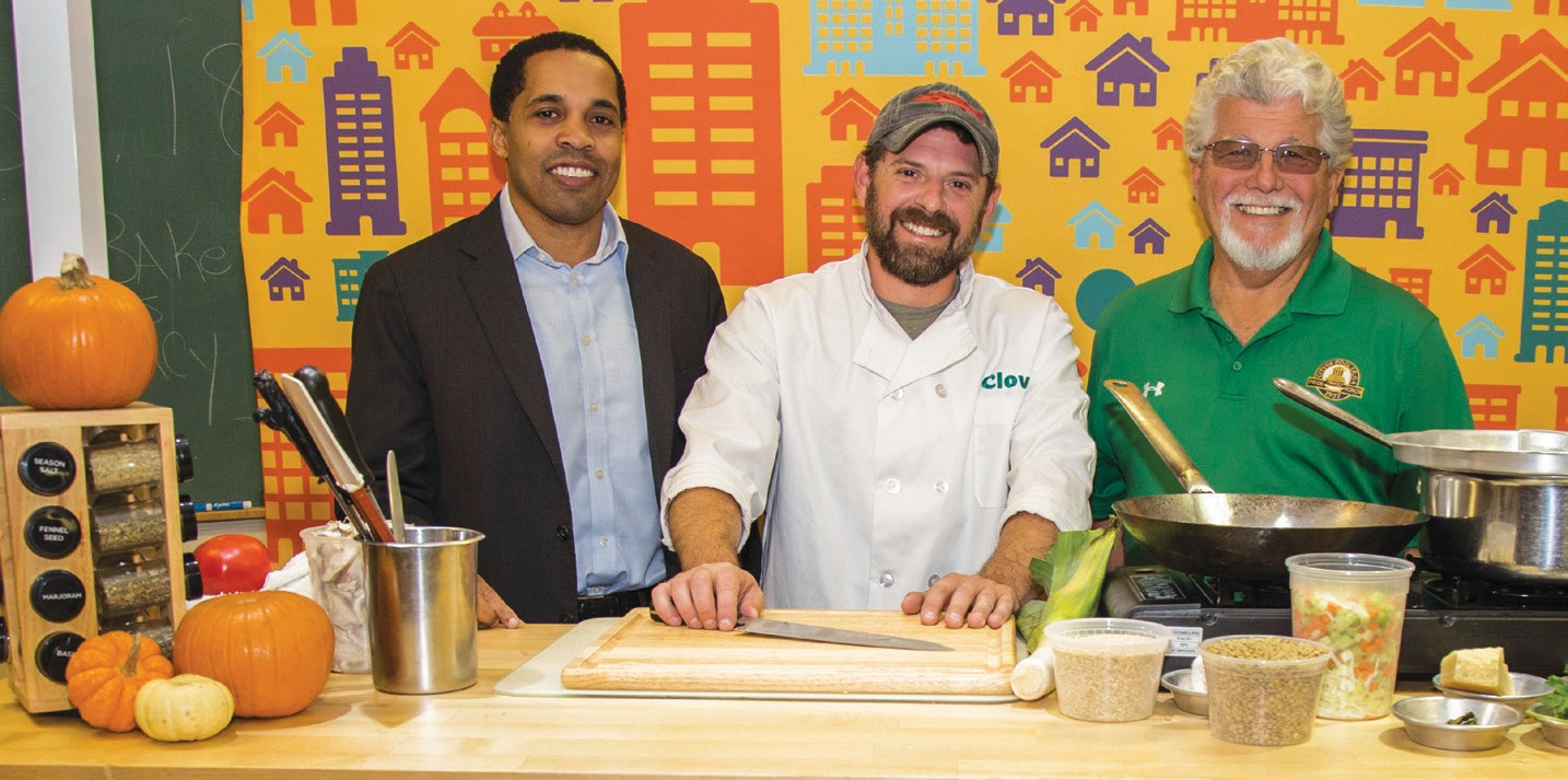 L-R: Clover GM Jeff Ross, Chef Tony, and Pooler Mayor Mike Lamb.