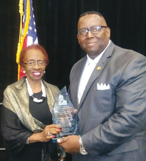 MLK Observance Day Assoc. President Carolyn Blackshear presents Rep. Carl Gilliard humanitarian award for his work with Savannah Feed the Hungry