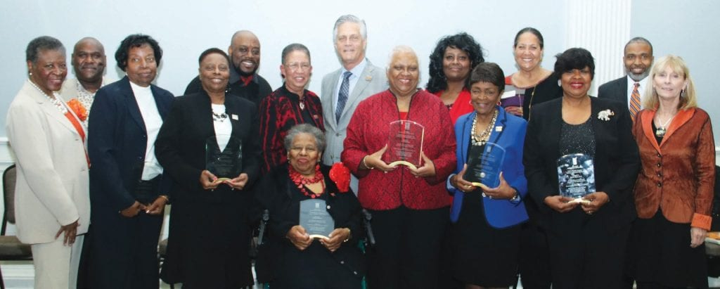 The 2018 Savannah Black Heritage Festival Honorees shown with Festival Chairman, Shirley B. James, Mayor Eddie DeLoach, Alderman Van Johnson, members of Cultural Affairs and Savannah State University staff.
