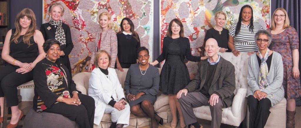 Back L-R: Hannah Hayes (SCAD alumna), Alice Jepson (2016 honoree), Tiffani Taylor (SCAD alumna), Sehila Mota Casper (SCAD alumna), Marcia Thompson (relative of Sema Wilkes), A'ndrea Wilson (SCAD alumna), Allison Hirsch (SCAD alumna). Front L-R: Edna Jackson, Miriam Center, Ebony Simpson (SCAD alumna), SCAD president and founder Paula Wallace, Mills Morrison (relative of Mary Lane Morrison), Leslie Codrington (relative of Fredericka Washington)