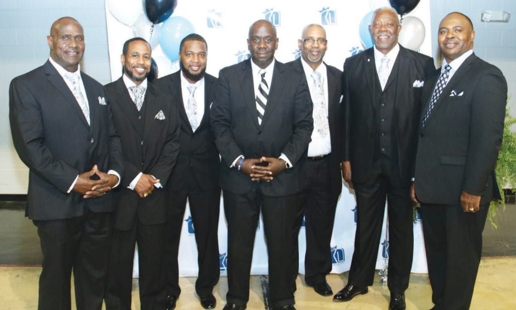L-R: Deacons Rufus Arkwright, Eric Jones, Jim'markius Means, Pastor Charles Roberson, Deacons Tommie Coffee, Earl Edenfield and Gary Moore