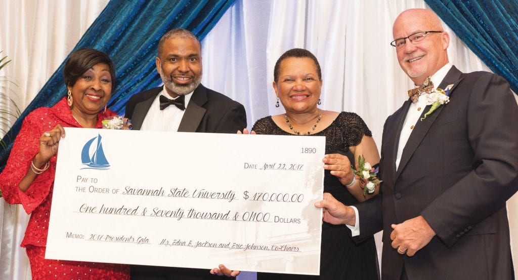 Pictured with the check: (L-R) Co-chair and former mayor of Savannah Edna B. Jackson; Vice President for University Advancement Phillip Adams; President Cheryl D. Dozier; Co-chair and former Ga. state senator Eric Johnson