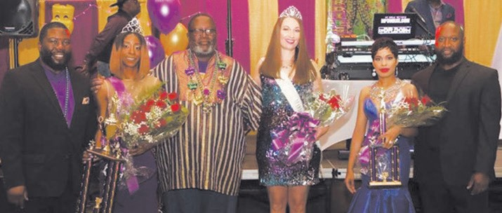 R-L: Horace Magwood, III; Tia West, Miss Mardi Gras 2018; Moses S. Calhoun, III, Mu Phi Basileus; Rebecca Teter, Miss Mardi Gras 2017; Latecka Moore Early, 1st Runner Up 2018; and Johnny Early. Photo by: Upscale Photography