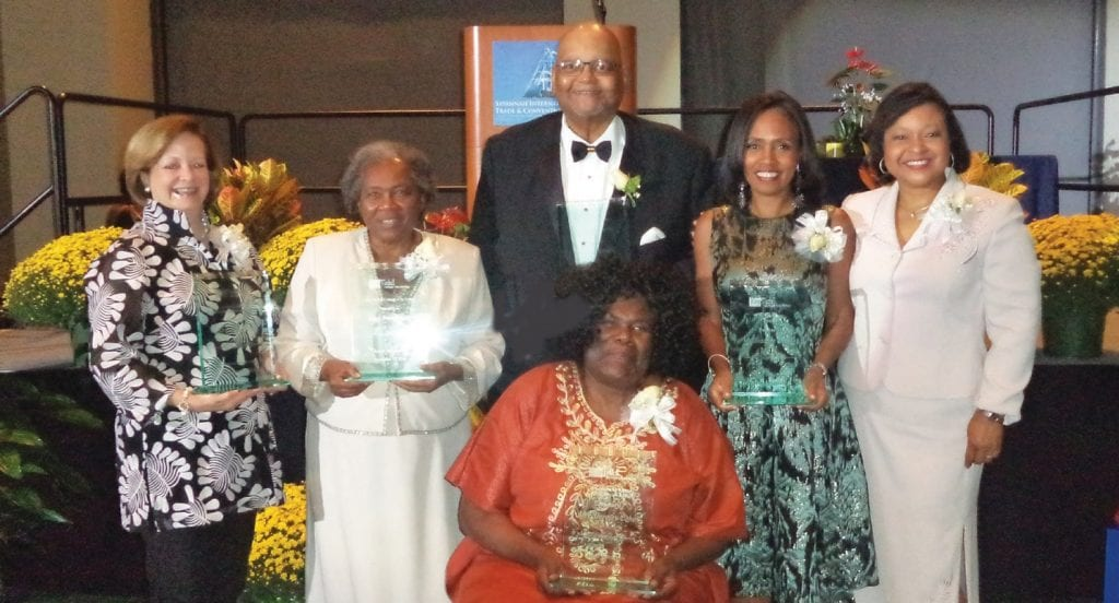 L-R: Lisa L. White, Rose Overstreet Smith, Chef Joe Randall, Susan Shank, Dawn Baker, MC seated (King Tisdell Honorees)