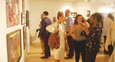 Guests and FAAA Members Viewing the FAAA Small Works Exhibit
