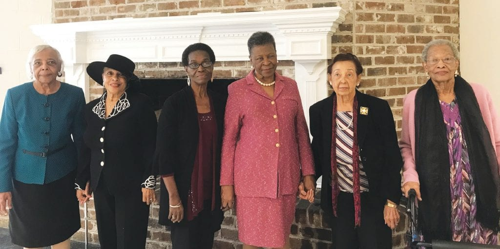 """""""Quettes who are Bridge Builders"""" and widows of Mu Phi Legends: L - R: Katherine Redden, widow of Omega Sidney J. Redden; Constance Johnson, widow of Omega Lester B. Johnson, Jr.; Patricia Thomas, widow of Omega Roy Thomas; Barbara G. Magwood, widow of Omega Horace Magwood, Jr.; Wilhelmenia Dean, widow of Omega Elmer Dean; Etta Brown, and widow of Omega Ernest S. Brown."""