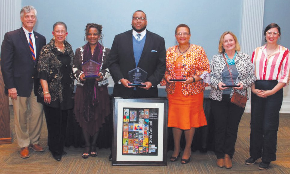 Pictured L-R: Savannah Mayor Eddie DeLoach, Shirley B. James, Festival Coordinator; Dr. Peggy Blood, Kenya Cabine, Dr. Chery Davenport Dozier, Cynthia Collins and Cultural Affairs Commissioners Coco Papy