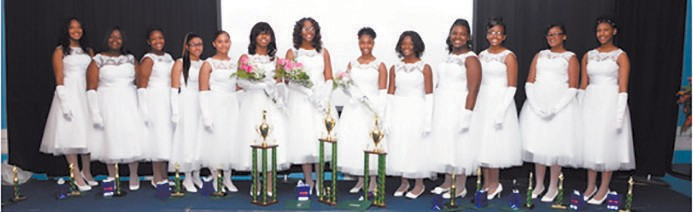 "L-R: Jayla Nicole Pierce, McCalla Lily Scott, Bethany Rebekah Patterson, Alexandrea Maureen Stafford, Malinda Jane Stafford, Paris Denise Glover – 1st Runner-Up, Mariah Amari Wall - ""Miss Precious Gem"", Taylor Alasia Riley – 2nd Runner-Up, Rahnya J. Myers, Delicia Denise Pierce, Sanai Gabriel Jones, Tamiia Monique Brown, Daphnie Elaine Young"