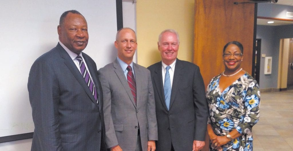 (L-R) Robert James, David Oliver, Joe Brannen and Carver Assistant Vice President Sherrie Williams