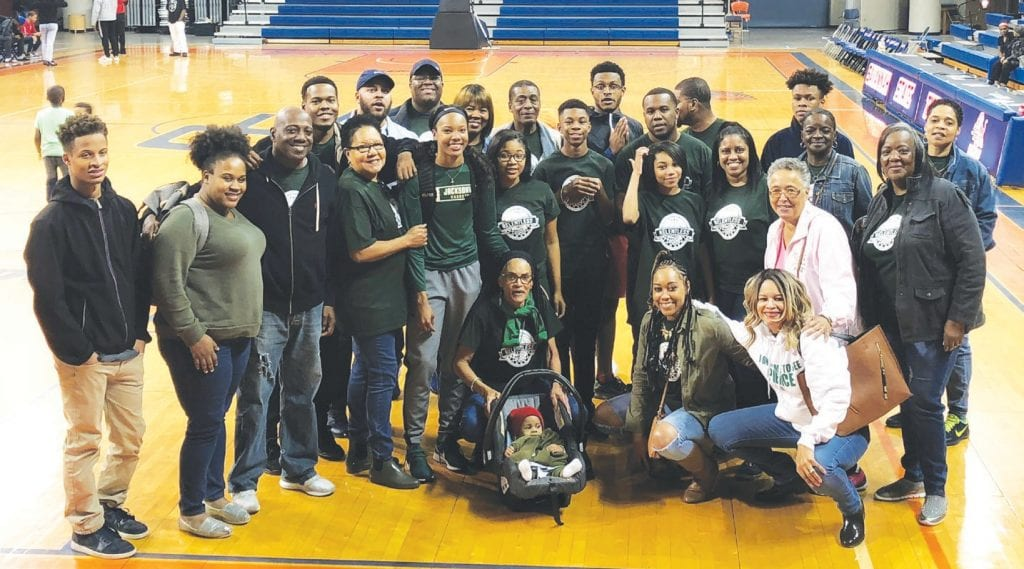 Alexis Pierce shown with family, friends and supporters