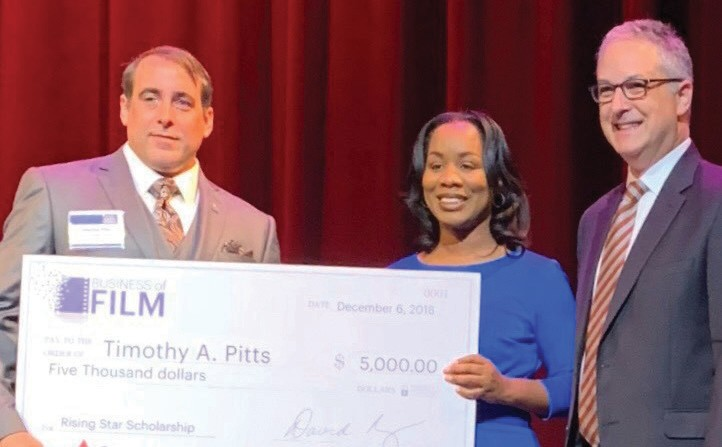 L-R: Timothy Pitts, scholarship recipient - Terrilyn Simmons, brand strategy manager at Georgia Power and David Rubinger, president and publisher at Atlanta Business Chronicle