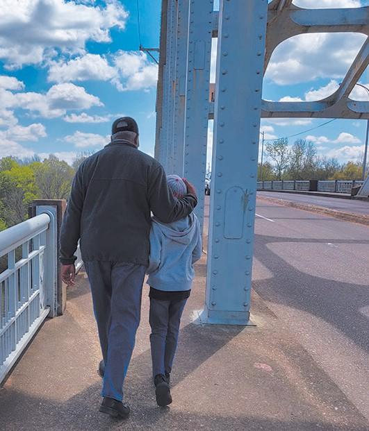 Ranier with George Shinhoster Walking the Edmund Pettus Bridge, Selma, AL
