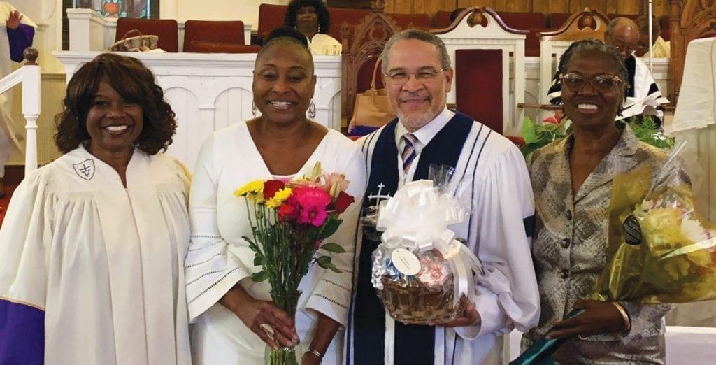 L-R: Mrs. Beverly Hall, Steward Pro Tem; First Lady Brenda Young Haithco; The Rev. Jai Haithco, Sr., Ed.D.; Rev. Catherine Mathis, Savannah South District Presiding Elder