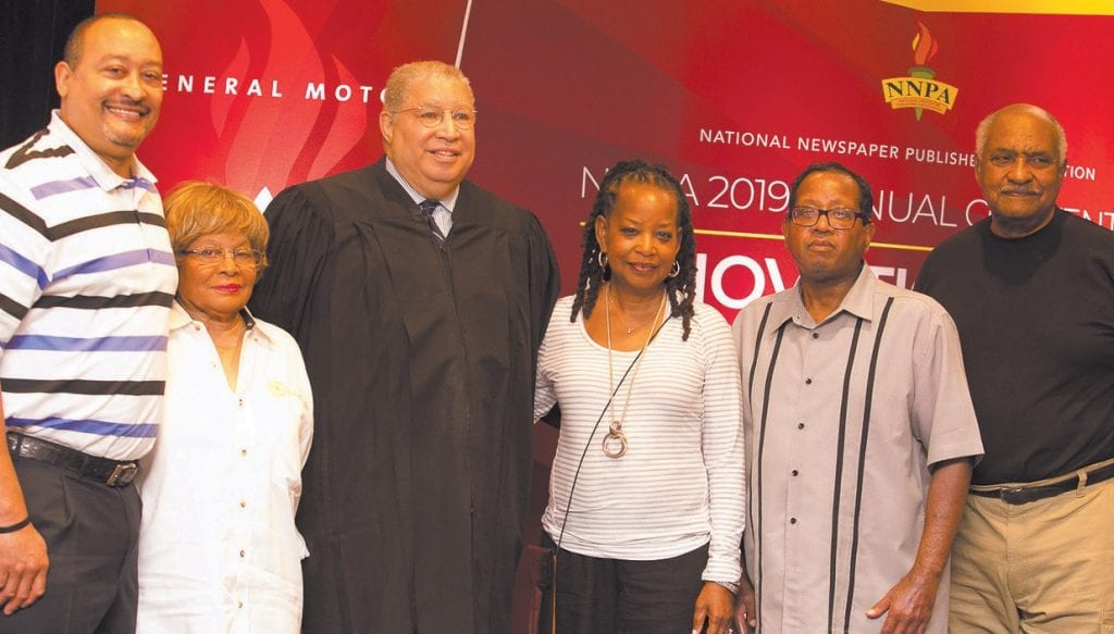 Pluria Marshall, Marshall Broadcasting Group; Rosetta Perry, Tennessee Tribune; Judge Tyrone K. Yates; Denise Rolark Barnes, Washington Informer; Final Call Editor-in-Chief Richard B. Muhammad, San Diego Voice and Viewpoint Publisher John Warren