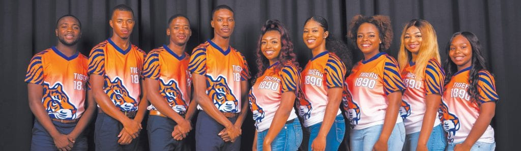 L-R: Mister Freshman Jeffrey Dinkins, Mister Sophomore Foday Tarawally, Mister Junior Tyler Hodges, Mister SSU Antwan Yarbrough, Miss SSU Aaliyah Buckholts, Miss Senior Kerre' Tinsley, Miss Junior Kamari Moore, Miss Sophomore Taneya Heath and Miss Freshman Asia Cannon. Photo by Litus Marshall.