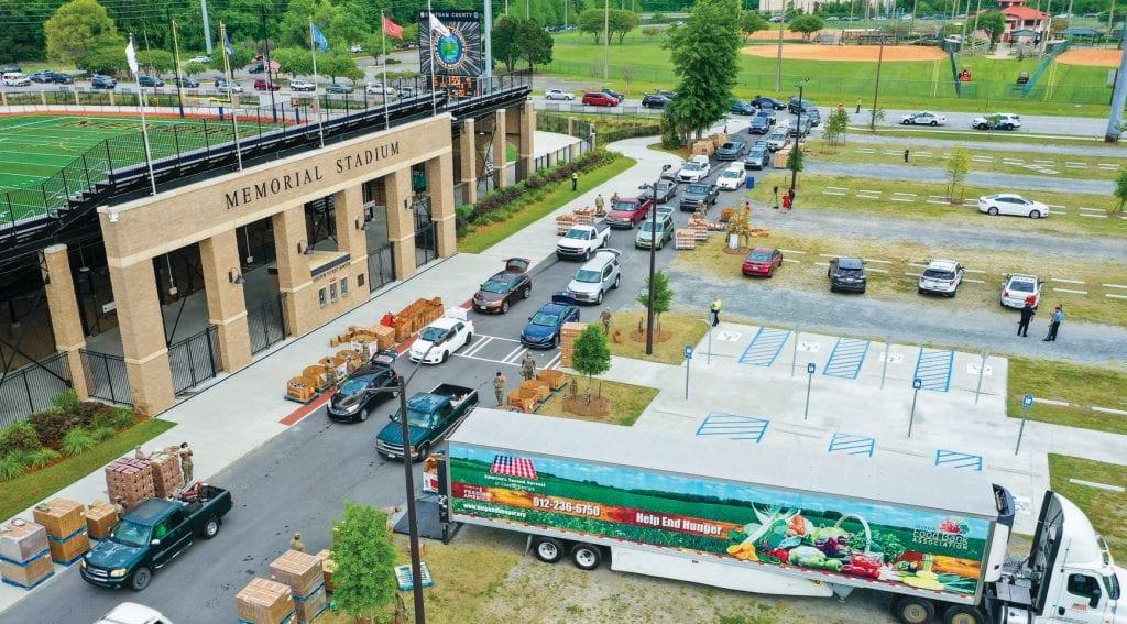 Second Harvest Drive Thru Emergency Food Distribution Photo: Savannah Aerials (@SavannahAerials)