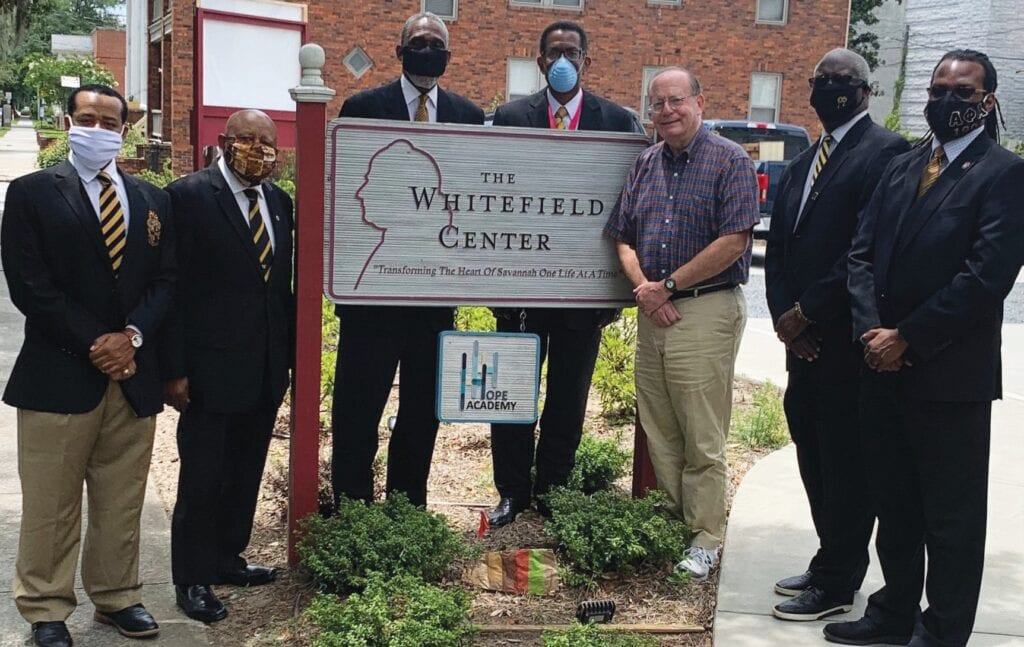 The Whitefield Center: L-R: Bros. Wesley Hutchins, Lawrence Hutchins, Solomon Myers, Bobby Jones, Mr. Steven Dantin, representing the Whitefield Center, Bros Eric Duncan and DeWayne Gilliard