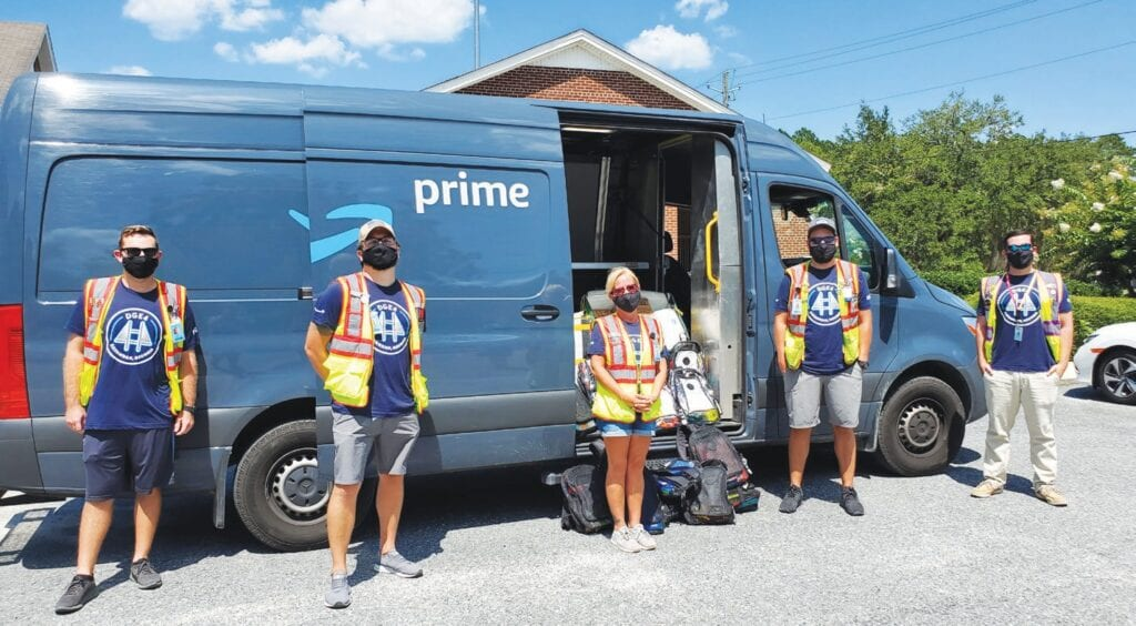 L-R Amazon team members Karl Nelson, Shawn Carbone, Amber Eslinger, Joshua Todd, Greg Miller. Photo Credit: Courtesy of Amazon