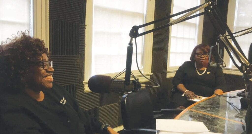 Pictured on the right is Grayzel Ellison, chairperson of the Chapter's Health and Human Services Facet interviewing Dr. Debbie P. Hagins, Medical Director of the Coastal CARE Centers