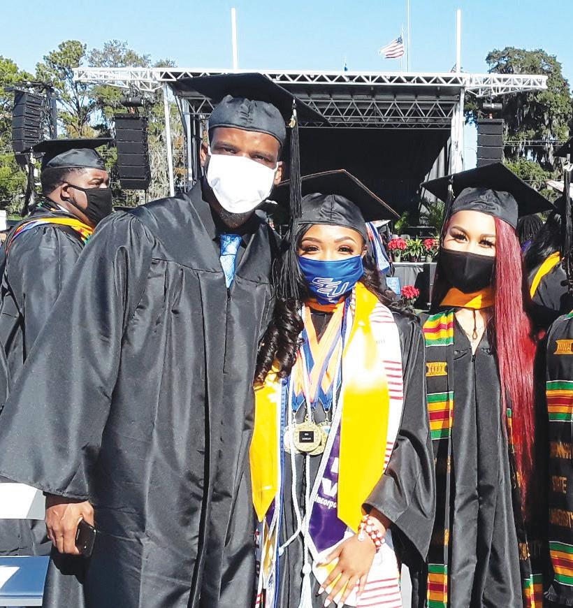 Salutatorian and Miss SSU Aaliyah Buckholts (center) & fellow graduates