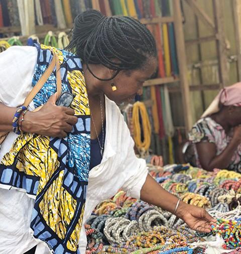 Connie Williams at Beading Market Ghana