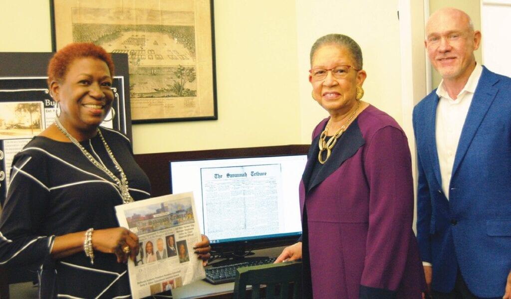 L-R: Tanya Milton, Vice President and Advertising Director, and Shirley B. James, Publisher, The Savannah Tribune; David Singleton, Executive Director, Live Oak Public Libraries